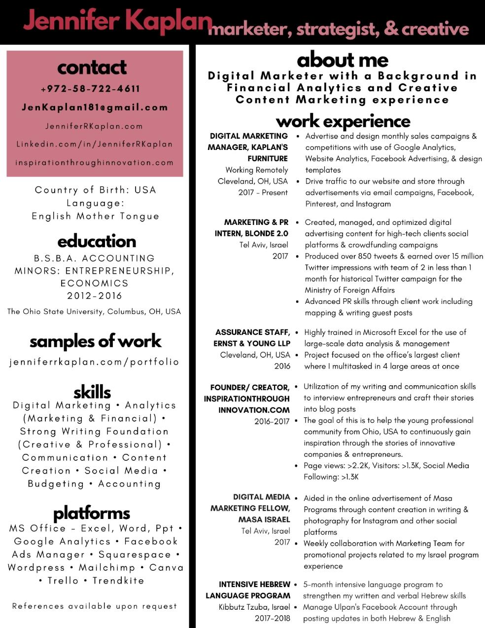 jennifer kaplan_normal2fadvertising resume 1jpg - Skills For Resume Manager Craft Store